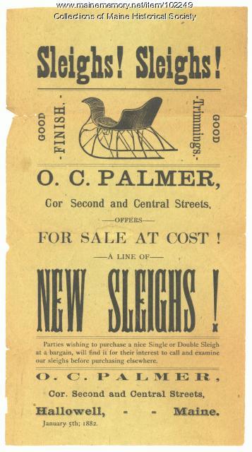Sleigh advertisement, O.C. Palmer, Hallowell, 1882