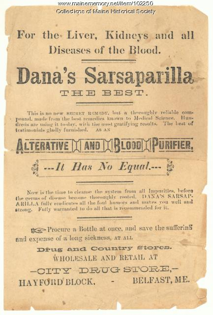 Dana's Sarsaparilla advertisement, Belfast, ca. 1890