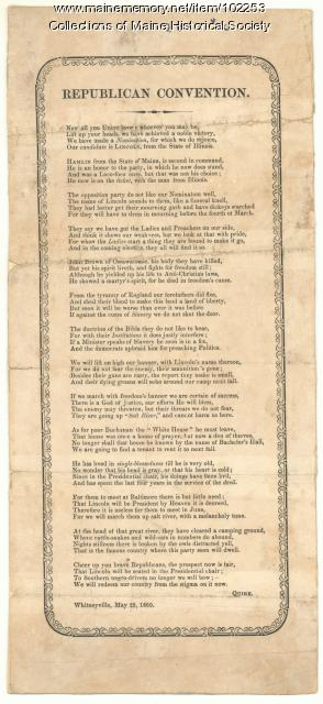 Republican Convention poem, Whitneyville, 1860