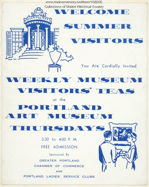 Poster for Portland Art Museum visitors' teas, ca. 1965
