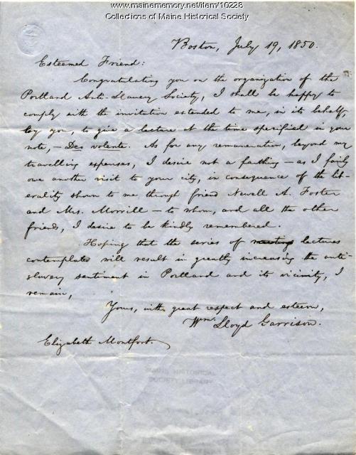 Letter from William Lloyd Garrison to Elizabeth Mountfort, July 19, 1850