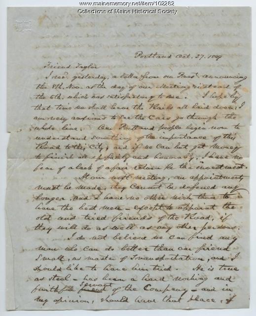 Neal Dow regarding the Atlantic & St. Lawrence Railroad, Portland, 1849