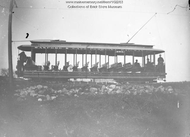 Sanford to Cape Porpoise trolley car, Cape Porpoise, ca. 1900