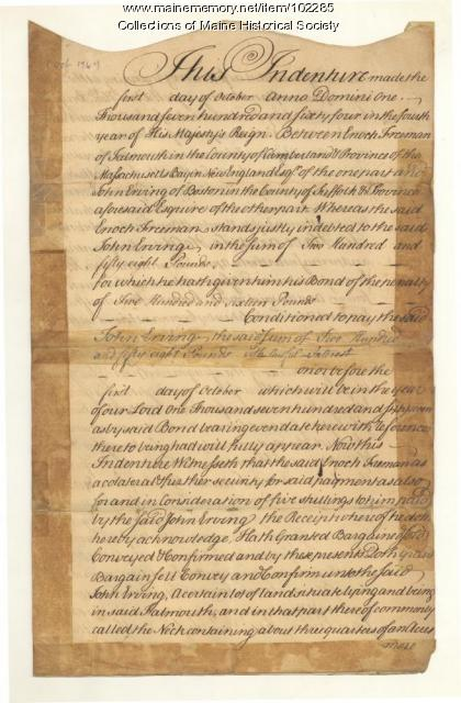 Falmouth Neck deed of ownership, Portland, 1746