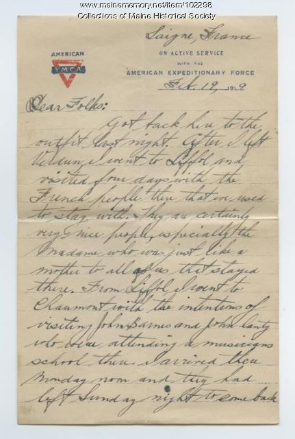William Cobb writes home about his brother's death, Laigne, France, 1919