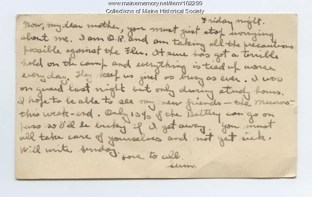 Sumner Cobb writes from Camp Taylor, Louisville, Kentucky, 1918