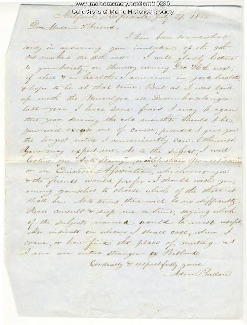 Letter from Adin Ballou to Elizabeth Mountfort, July 29, 1850