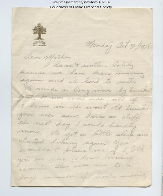 Herbert Cobb's last letter home, France, 1918