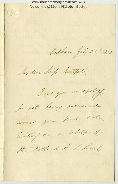 Letter from Edmund Quincy to Elizabeth Mountfort, July 25, 1850
