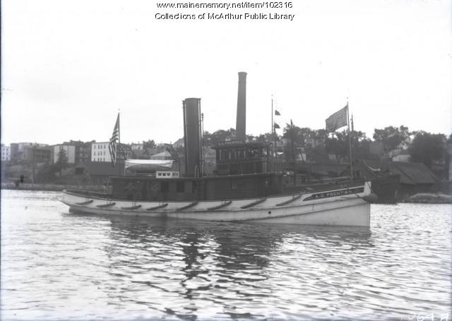 "Tugboat ""A.G. Prentiss"" on Saco River, 1914"