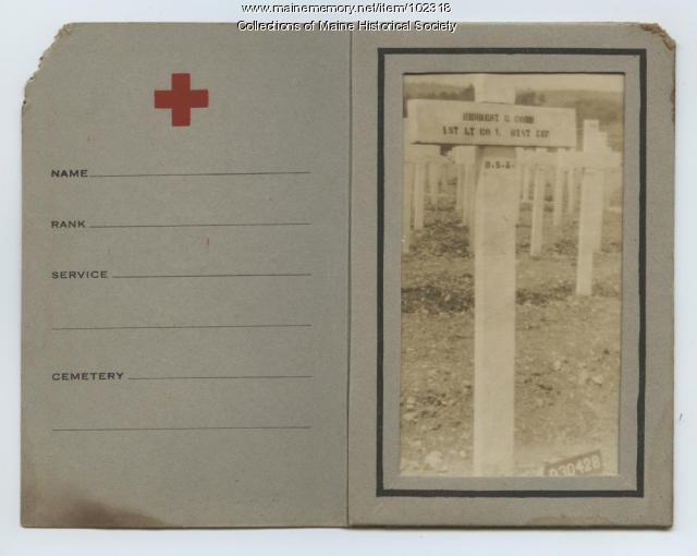 Herbert Cobb's gravestone, France, ca. 1919