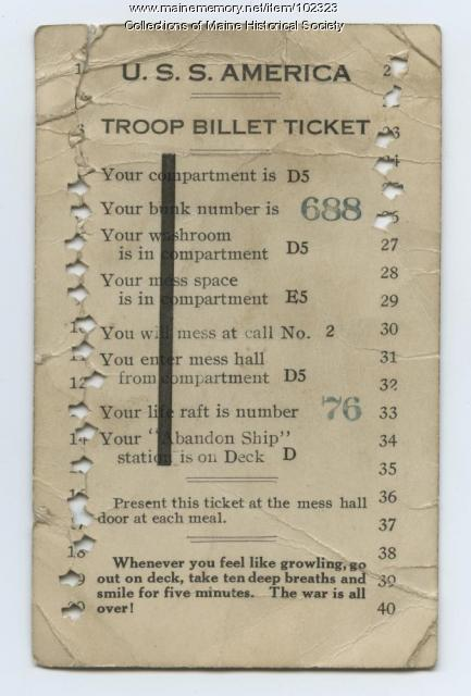 William Cobb's ticket home from France, ca. 1919