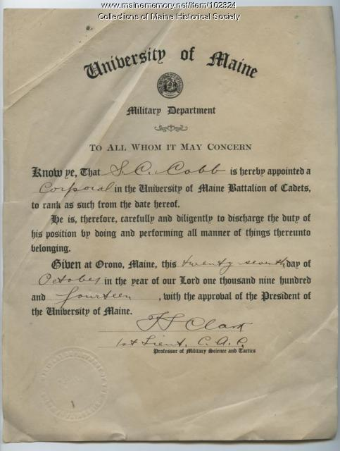 Sumner Cobb appointment to Corporal, University of Maine, Orono, 1914