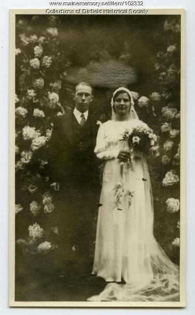 Clara and Raymond Howard wedding day, Dixfield, 1932