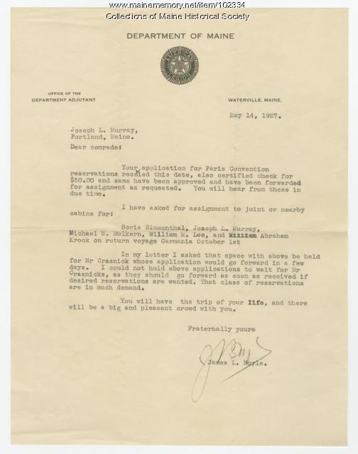 James Boyle writes to Joseph Murray regarding Paris Convention, Waterville, 1927