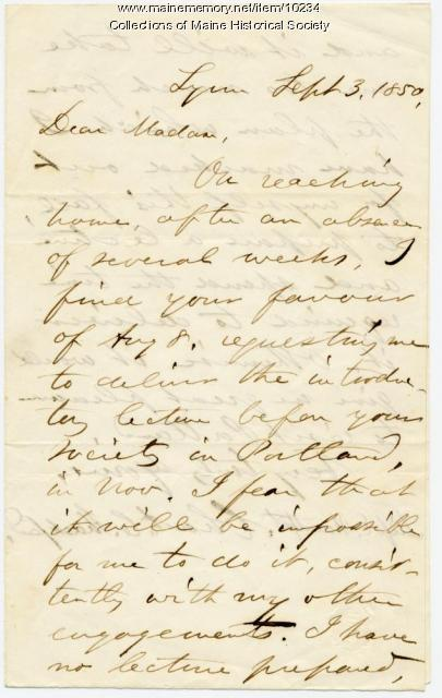 Letter from Charles C. Shackford to Elizabeth Mountfort, Sept. 3, 1850