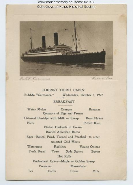 Breakfast menu on the R.M.S. Carmania, October, 1927