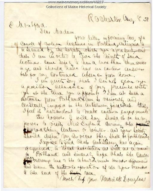 Letter from Frederick Douglass to Elizabeth Mountfort, Aug. 8, 1850