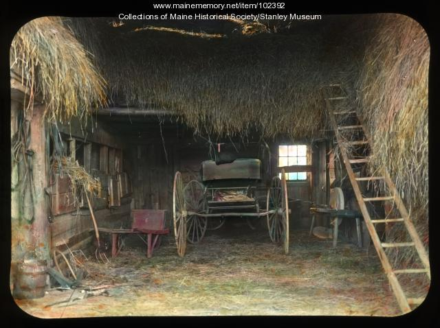 Barn interior, Kingfield, ca. 1910