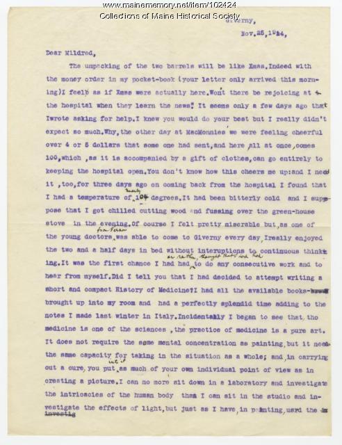 Dr. William Johnston expresses gratitude at Burrage family donations, France, 1914