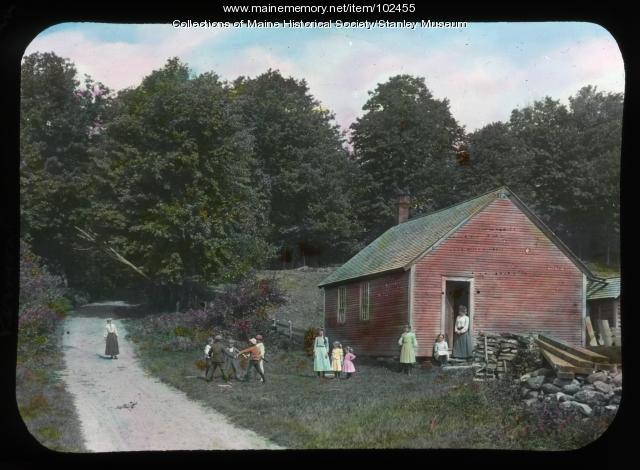 """Little red school house,"" Stowe, Vermont, ca. 1910"