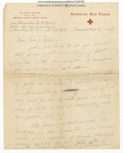 Harry Marr writes home about his gas burns, France, 1918