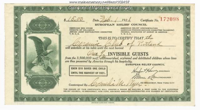 Donation certificate for starving European children, Portland, 1921