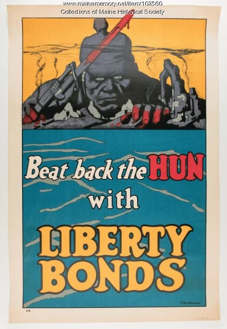 Beat back the Hun with Liberty Bonds World War I poster, 1918