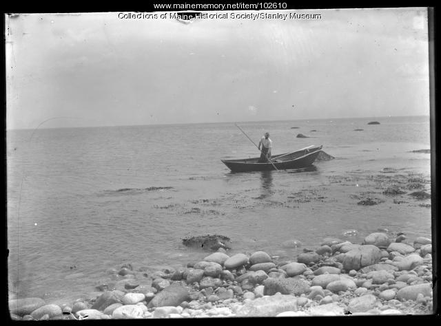 Moss gatherer in boat, Scituate, Massachusetts, ca. 1910