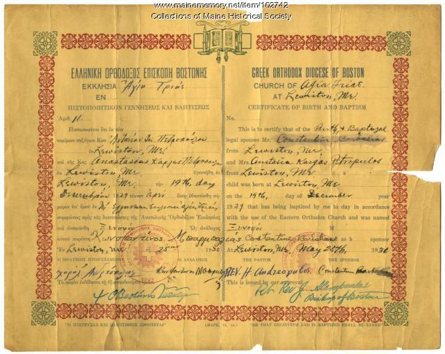 John Petropulos' certificate of birth and baptism, Lewiston, 1930