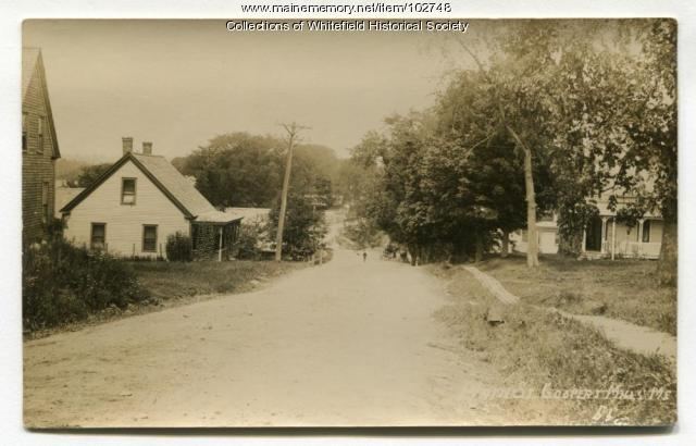 Coombs and Gowen houses in Coopers Mills, Whitefield, ca. 1910
