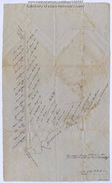 Copy of a plan of lands on the west side of Madomack River, Waldoboro, 1774