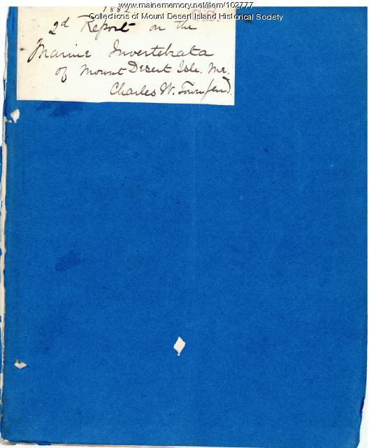 Champlain Society Second Report on the Marine Invertebrata of Mount Desert, 1882