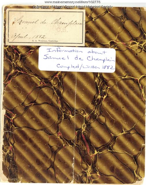 Champlain Society log, Information about Samuel de Champlain, Cambridge, 1882