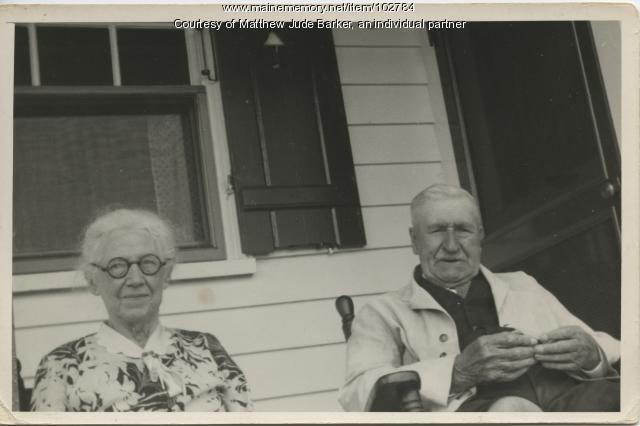 Irish immigrants Margaret and Lawrence Newell on their porch, Portland, 1937