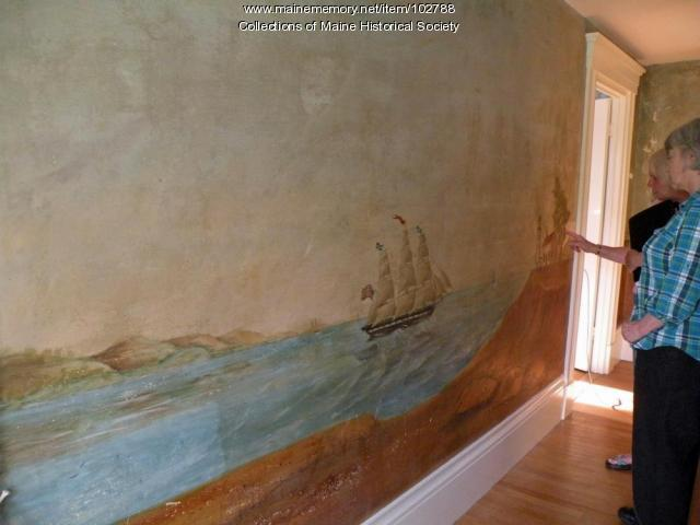 Members of the Westport Island History Committee viewed murals in the Cornelius Tarbox, Jr. House