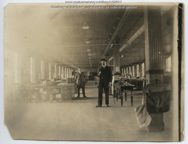 Maine Central Railroad janitor Lawrence Newell, Portland, ca. 1920