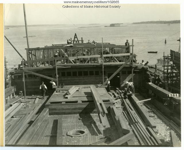 "Construction of the S.S. ""Belgrade,"" South Portland, 1918"