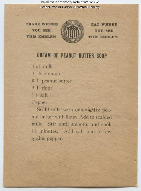 Peanut butter soup recipe, ca. 1917