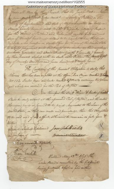 Bond for goods imported, Portland, 1796