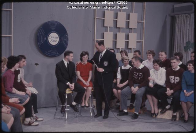 South Portland High School students on the set of The Dave Astor Show, Portland, 1962
