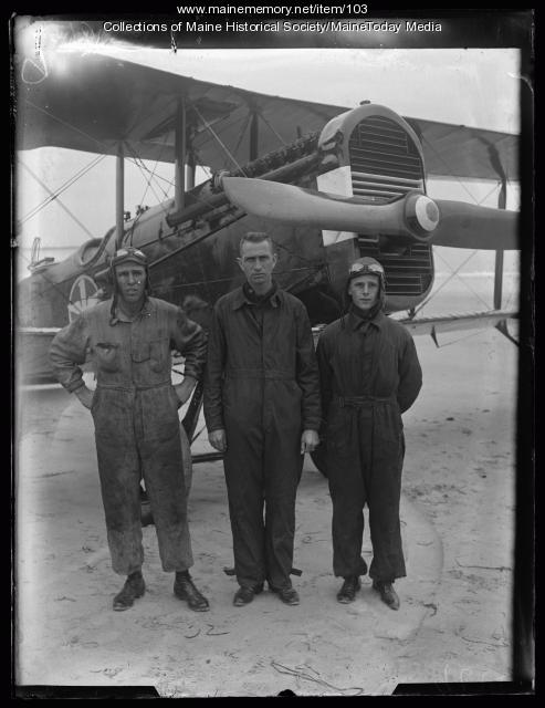 Biplane and crew, ca. 1920
