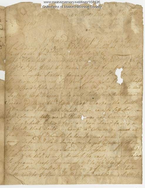 Benjamin Bullard to Sir William Pepperell on slave trading, Barbados, 1720