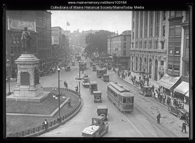 Monument Square traffic, Portland, 1921