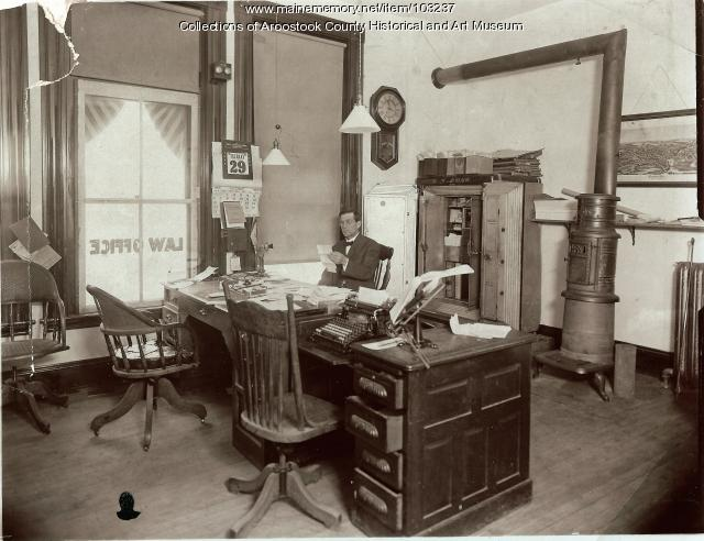 Ransford W. Shaw's law office, Houlton, 1908
