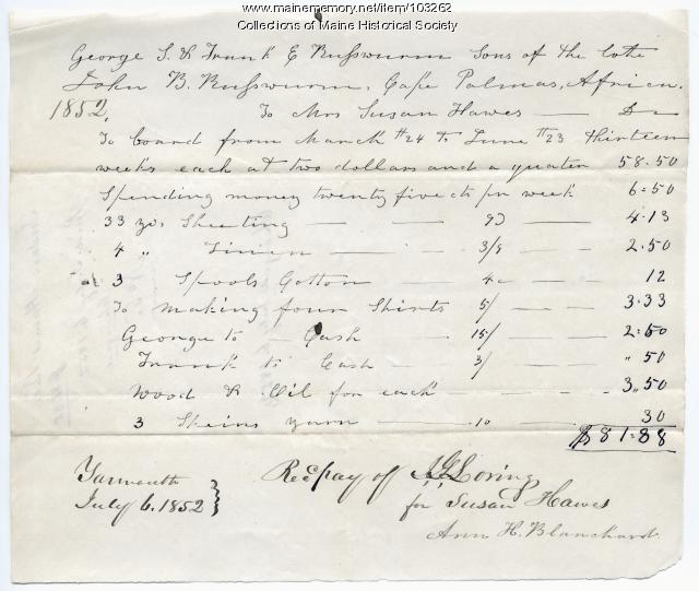 Allocation of money for the children of the late John B. Russwurm, Yarmouth, 1852