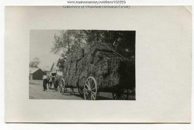 Clarence Glidden with load of hay, Coopers Mills, Whitefield, ca. 1910