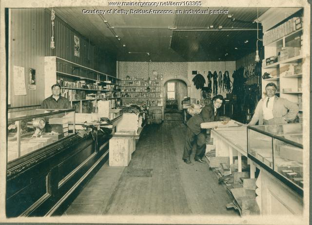Interior of Z.C. Bolduc shoe findings shop, Lewiston, ca. 1926