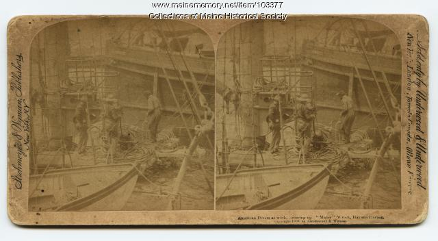 """American divers at work,"" wreck of the USS ""Maine,"" Havana, 1898"
