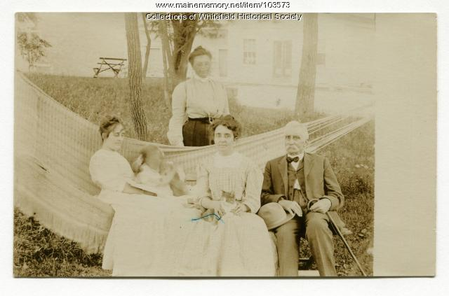 Achorn family in hammock, Coopers Mills, Whitefield, ca. 1906